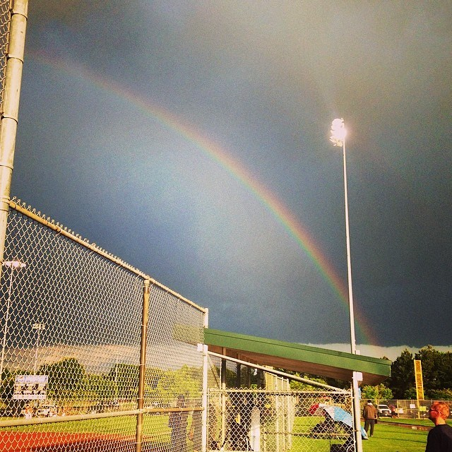 One side of the rainbow.... Too long to get the entire picture. Wanted to show  people how  far it stretched.....