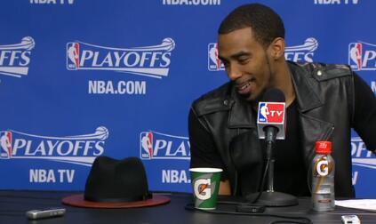 """It's actual wood, man."" -- Mike Conley on his hat http://t.co/NylsDI18az"