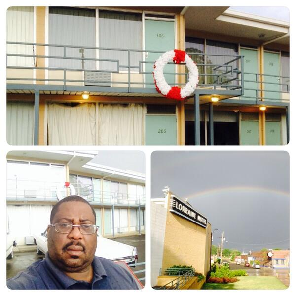 @The Lorraine Motel in Memphis where #MLK was died 4/4/1968 there is a rainbow after a storm http://t.co/wL2agKsrHa http://t.co/NaEoHHIBLH