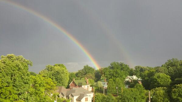 Here's a better picture of the double rainbow hanging over Midtown right now http://t.co/ckTK3f3qea
