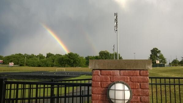 A double  rainbow over Signaigo Field. What a wonderful sign for our Commencement! #BucPride14 http://t.co/cGXvhWbf4a