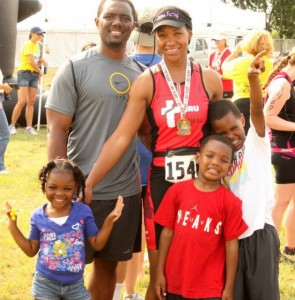 WE ARE FAMILY --- Former Whitehaven High basketball standout LaDeitra Lee and her family moved to Austin, Texas 14 years ago and have since been active in various sports, including swimming and the triathalon. (Photos by LaDeitra Lee)