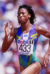 ALL WORLD --- Before winning an elusive gold medal in the 1996 Summer Olympics, Memphian Rochelle Stevens was a four-time national champion at Morgan State University in Baltimore. (Getty Images Photo)