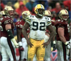 PEOPLE PERSON --- Before NFL Hall of Fame linebacker Reggie White entered the NFL ranks, Robinson met the him during his stint with the Memphis Showboats of the USFL in the early 1980s.
