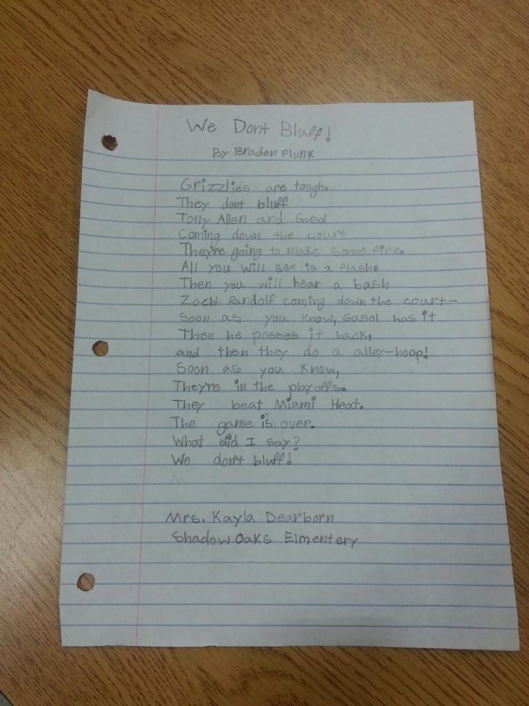 Grizzlies poem