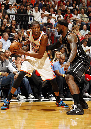 KING DETHRONED --- Durant amassed 119 of the possible 125 first-place votes in ending Miami Heat superstar LeBron James' two-year league MVP run. (Photo by Issac Baldizon/NBAE Getty Images)