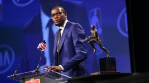 """CLUTCH SPEECH --- After being named the NBA's Most Valuable Player for the first in his career, Oklahoma City Thunder superstar caught the sports world by storm with an emotional speech in which he labeled his mother, Wanda Pratt, as the """"real MVP."""" (Photo by Layne Murdoch/NBAE Getty Images)"""