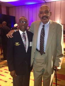 DALLAS DUO --- Andrew Jackson, Jr. (left) and former Dallas Cowboys great Jethro Pugh pose for a photo at Dallas-Fort Worth International Airport in September 2013. An avid Cowboys fan, Jackson met Pugh in the late 1980s. (Photo submitted by Andrew Jackson)
