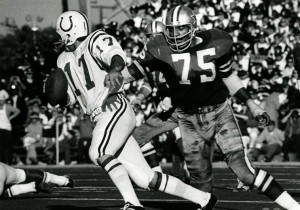 While quarterback sacks weren't an official NFL statistic during Pugh's tenure, he is unofficially credited with a career total of 95.5. To his credit, he led the team with 12 ½ sacks for five consecutive seasons from 1968-1972. (NFL Films photo)