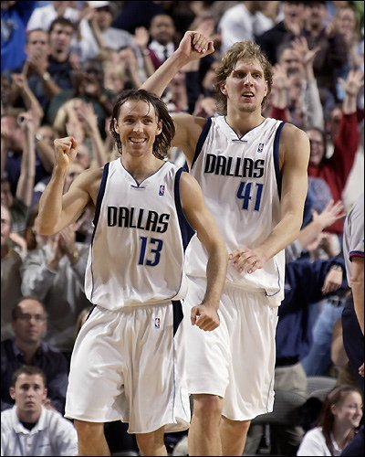 BEST OF FRIENDS --- Dirk Nowitzki (right) and Steve Nash had become close friends during the six seasons in which they played together for the Dallas Mavericks. However, after Mavs owner Mark Cuban had declined to match the Phoenix Suns' offer to Nash, which was a reported $63 million over six years, Nash reluctantly bolted Dallas for Phoenix after the 2003-04 season, news Nowitzki admittedly didn't sit well with him. (Photo by D. Clarke/Getty Images)