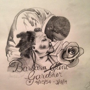 REMEMBERING BARB --- Christian's current Facebook profile photo features artwork of him and his late grandmother.