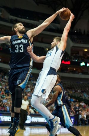 BLOCK PARTY --- Marc Gasol (left) and the fifth-seeded Memphis Grizzlies (55-27), whose 9-7 division record was the best among the other four teams, is making their franchise-record fifth consecutive playoff appearance and will open postseason play Sunday night at 7 CST against the fourth-seeded Portland Trail Blazers in FedExForum. (Photo by Jerome Miron/Getty Images)