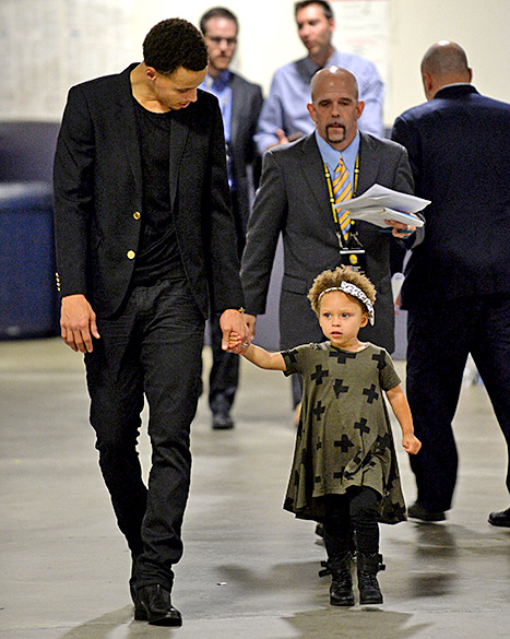 SHOW STOPPER --- Several sportswriters had gone as far as to say the presence of the adorable two-year-old Riley, Curry's daughter --- who was allowed to sit on her father's lap and made disruptive, cute comments terrible twos normally utter --- made it increasingly difficult for them to make their writing deadline.