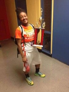 STOCK RISING --- According to many who have followed Basemore's rise as arguably one of the best basketball players in the history of Manassas High, she has every right to embark upon the 2015-16 season harboring some newfound swagger.  For starters, Basemore has yet to field official scholarship offers from any colleges, although she has garnered letters of interest from a few Division 1 mid-major schools, most notably Georgia State and Austin Peay State. (Photos submitted by D. Peterson)
