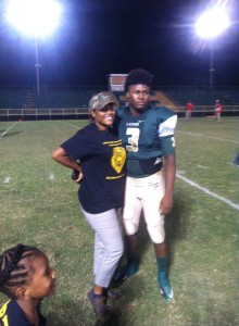 MAKING MOM PROUD --- Fortunately for Sonia Robinson's son, Kevin Perkins, Jr., a senior standout at Rosa Fort High, he had adjusted comfortably as a member of the fraternity that is major high school football.  A multi-position athlete for the Lions, Perkins is the catalyst for a Rosa Fort team that has already atoned for last year's disastrous 4-8 finish. (Photos submitted by S. Robinson)