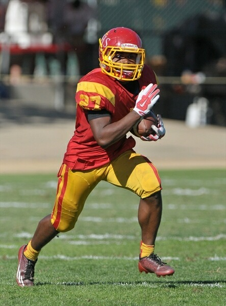 CALIFORNIA DREAMIN' --- A flourishing, crafty football player Jamal-Milton has become, one, who, with another masterful display in this, his final season at Jesuit High School in Carmichael, California --- in the outskirts of Sacramento --- could very well find himself playing on Saturdays around this time next year.  A stocky, speedy, 5-foot-8 running back who has evolved as an integral force for the Marauders' potent rushing attack in recent years, Jamal-Milton has been nothing short of impressive, although he admittedly brings into the 2015 season higher expectations. (Photos submitted by A. Jamal)