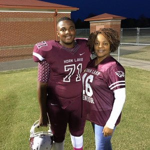 WAR EAGLE --- Horn Lake High senior linebacker Nikolas Dean's parents, Byron and Neketta Dean, said that while their son has endured his share of challenges during the course of his high school career, they are mostly impressed by how he has gone about assuming the businesslike approach for a player who's auditioning for a full ride athletic scholarship. (Photos by N. Dean)