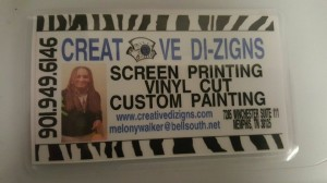 MEMPHIS' FINEST --- Located at 7285 Winchester Road, Suite 111, in the heart of Southeast Memphis, Creative Di-Zigns is widely known throughout the Mid-South for its customary screen printings, vinyl cuts, custom paintings, art gallery, and embroidery, among other things.